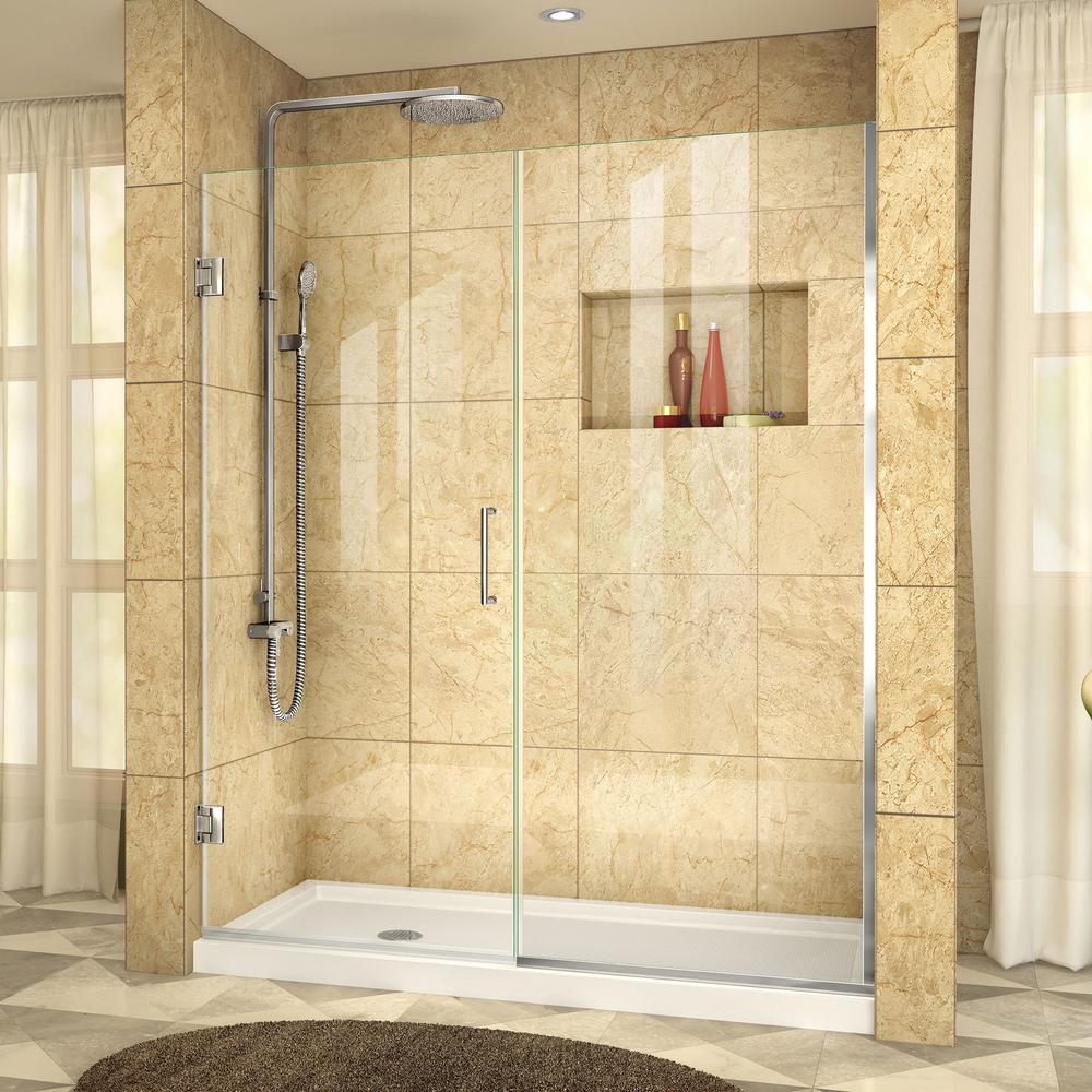 Dreamline Unidoor Plus 48 To 48 5 In X 72 In Frameless Hinged Shower Door In Chrome Shdr 244807210 01 Frameless Hinged Shower Door Frameless Shower Doors Black Shower Doors