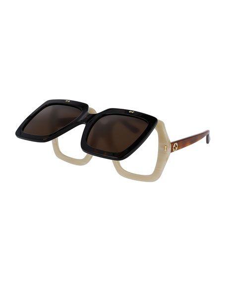3f6aca2f4e4 GUCCI Oversized Square Flip-Up Sunglasses