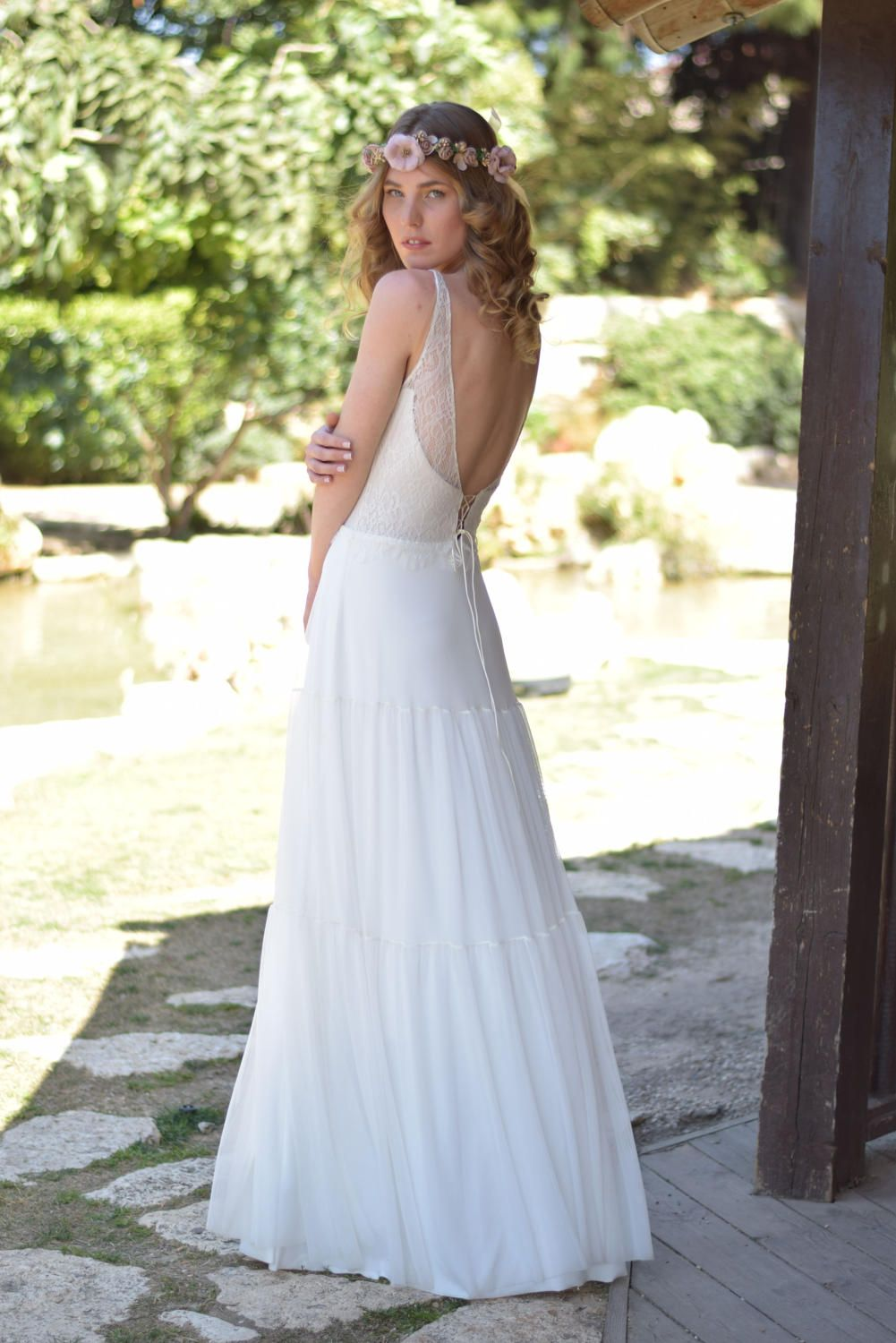 Camilla - Romantic wedding dress with lace top and chiffon skirt ...
