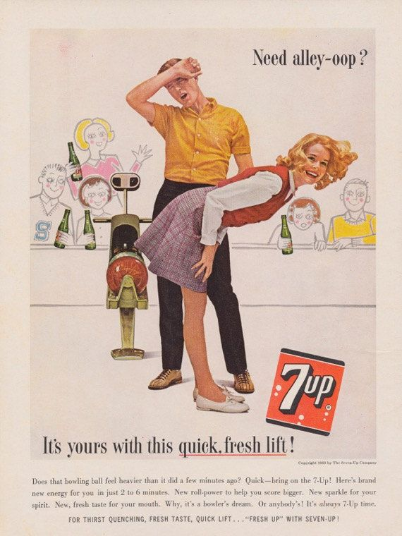 1960s 7 Up Bowling Alley Photo Ad Vintage Advertising Seven Up ...