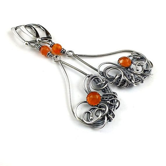 Hey, I found this really awesome Etsy listing at https://www.etsy.com/listing/260177141/orange-wire-wrapped-earring-silver
