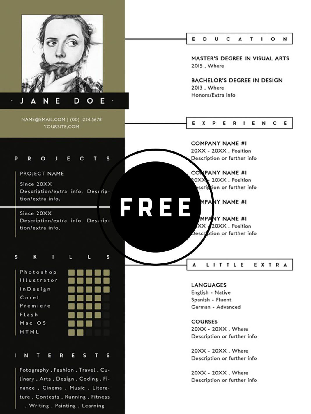 Free PSD Resume Infographic resume template, Best resume