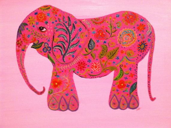 This is an adorable elephant. An acrylic painting on stretched canvas of a profile view of a happy elephant. Light pink background with a darker pink elephant, covered in