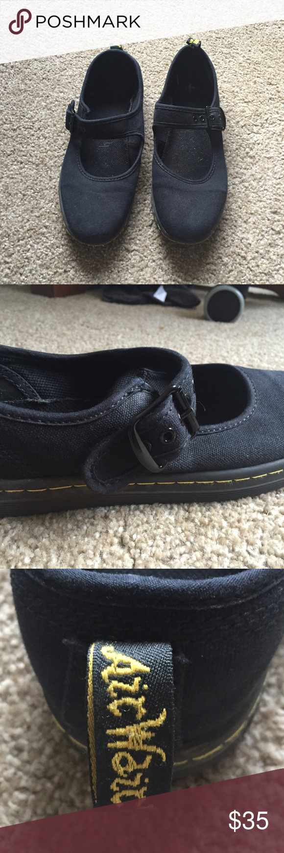 Dr. Martens Mary Jane Black Dr. Martens mary jane style flat with buckle closure. Size 8, bought new online and work only about 3 times Dr. Martens Shoes Flats & Loafers