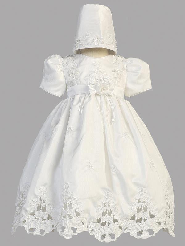 Lito White Shantung Cutwork Dress Bonnet Christening Set