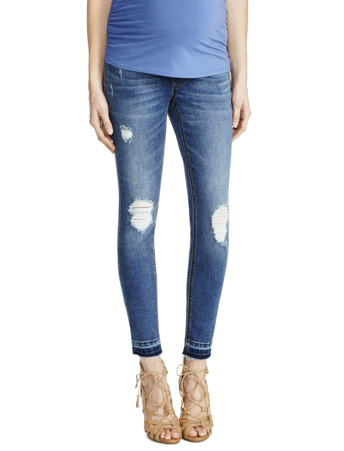 2be39095aa4c2 The perfect everyday blue jean | Secret fit belly 5 pocket straight leg  maternity jeans by Jessica Simpson available at Motherhood Maternity