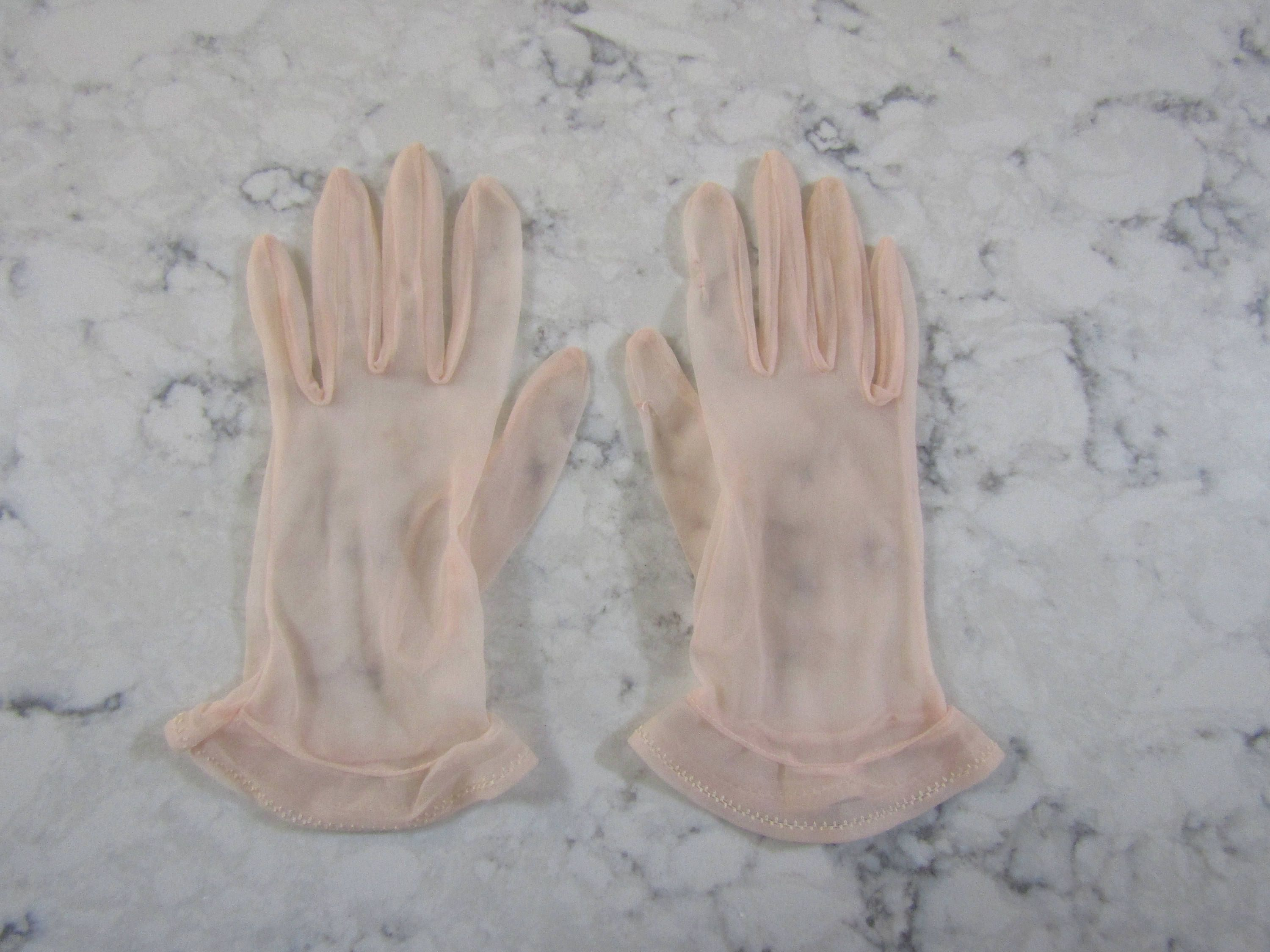 Vintage ladies leather opera gloves - Vintage 1950 S Sheer Pink Chiffon Wrist Length Gloves 9 Long Size 6 1 2 To 7 Glove Auction 1533