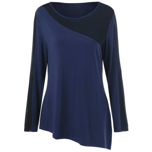 3a371abec78 Plus Size Sheer Asymmetrical T-Shirt | Clothes | Plus size, Shirts ...