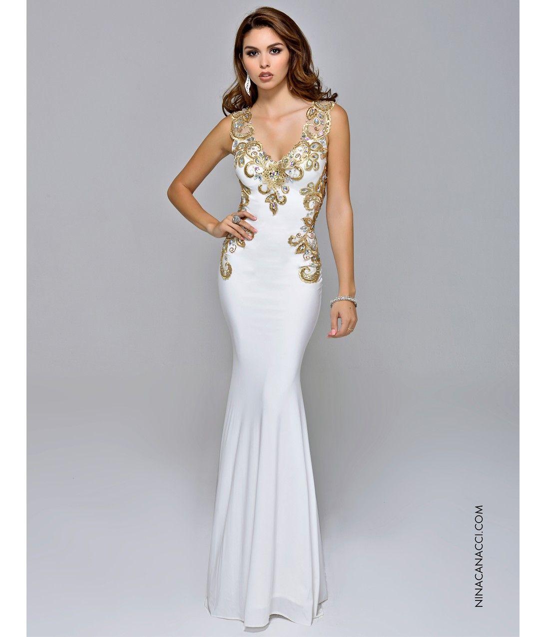 White Metallic Prom Dresses
