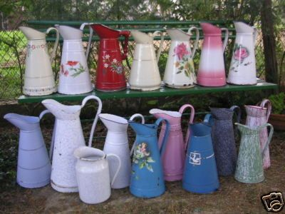 French enamelware pitchers... Oh MY! A feast of riches!