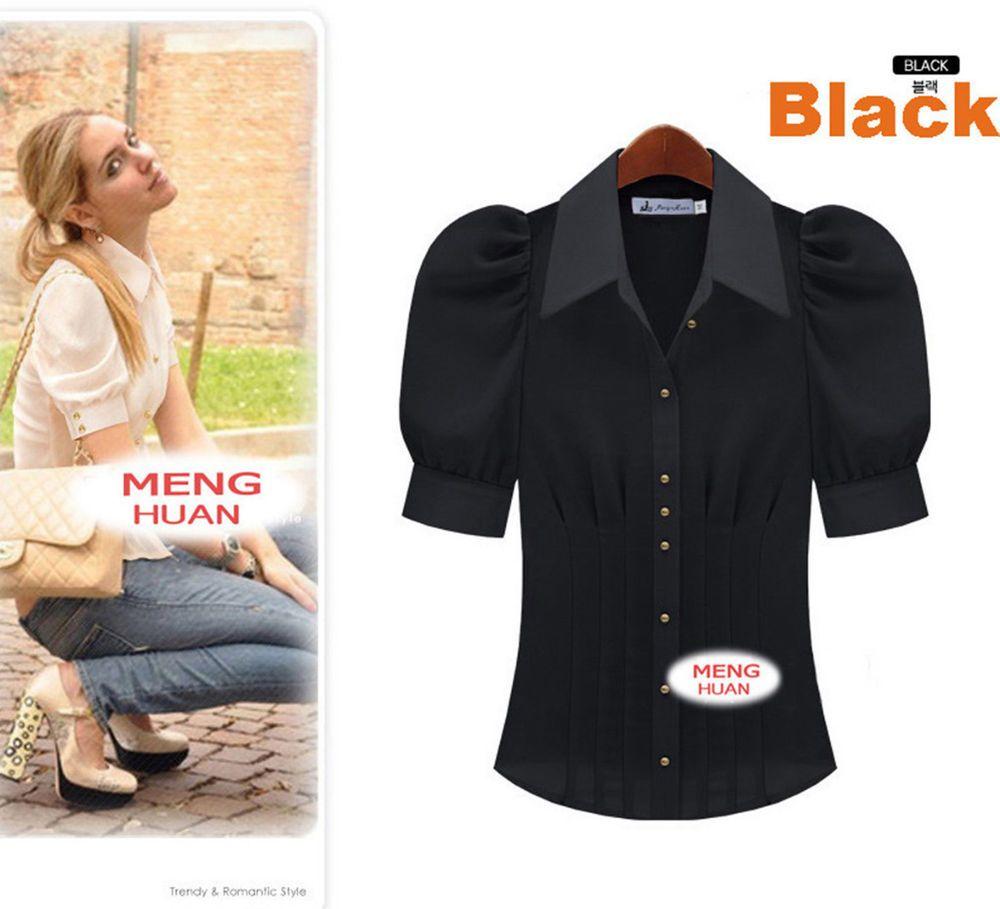 Puff Sleeve Work Chiffon Shirt Blouse Black S~3XL #T52B #other #Blouse #Career