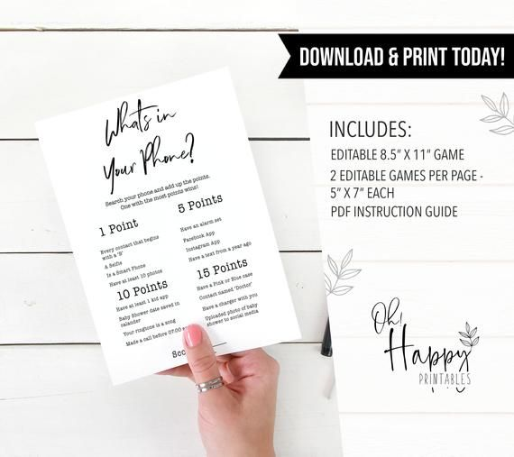 EDITABLE Whats In Your Phone Game, Printable Baby Shower Games, Baby Shower Games, Whats in Your Pho