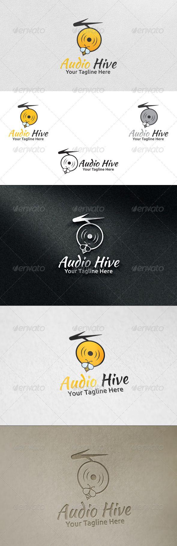 Audio Hive Logo Template — Vector EPS #audio bee #dj bee • Available ...