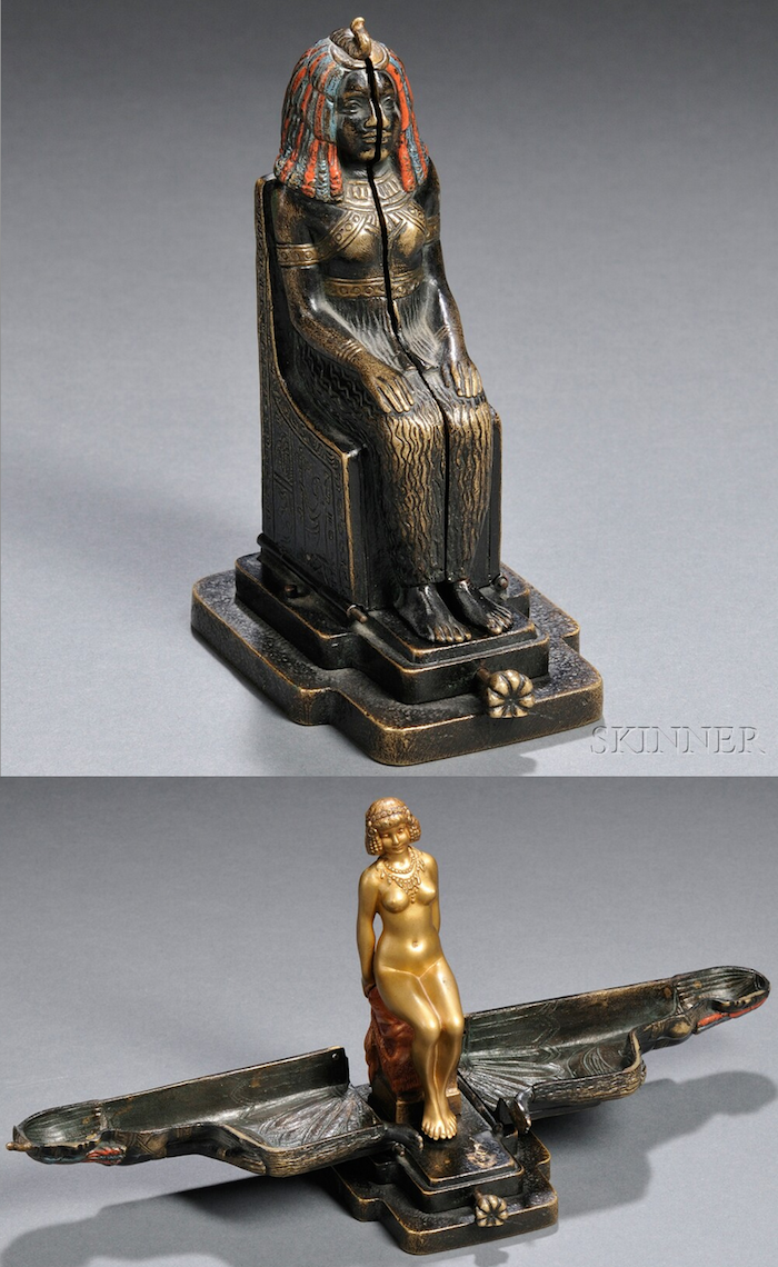 "Franz Bergman erotic metamorphic cold-painted bronze nude, Austria, late 19th / early 20th century, the seated Egyptian statue opens to reveal a nude woman seated on a pedestal, incised ""Nam Greb"" to base behind locking mechanism and with impressed ""B"" within a vasiform mark to back of pedestal, ht. 5 3/8 in.   