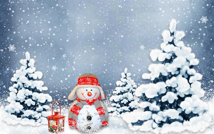 Download Wallpapers Snowman Winter Forest Christmas Xmas Snow Besthqwallpapers Com Fond Ecran Noel Bonhomme De Neige Bonhomme De Neige Drole