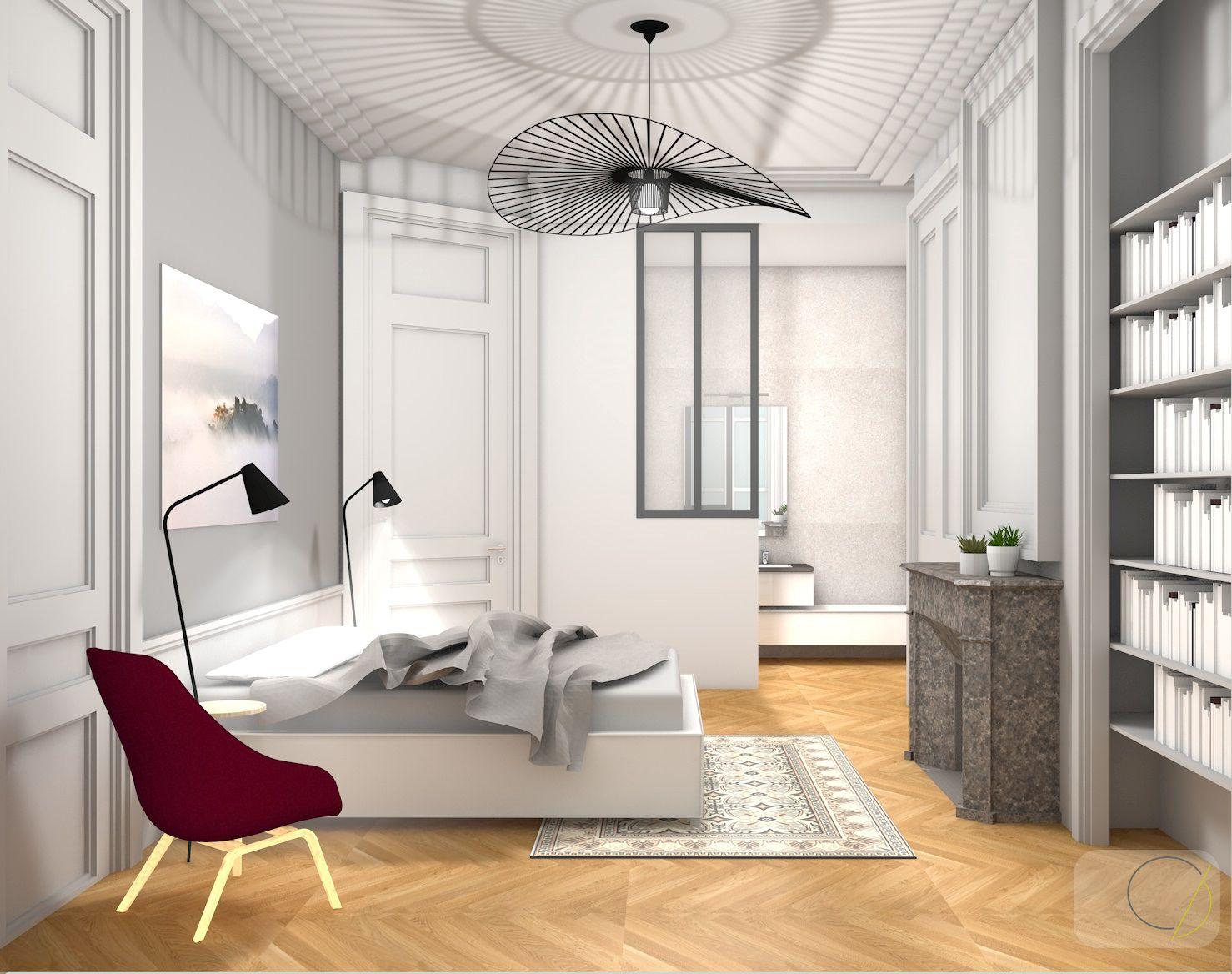 chambre parentale avec sa fameuse suspension vertigo r alisations agence camille basse pinterest. Black Bedroom Furniture Sets. Home Design Ideas