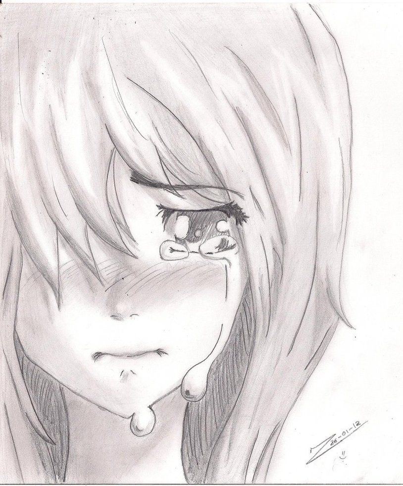Anime girl crying drawing crying girl by jukanjo