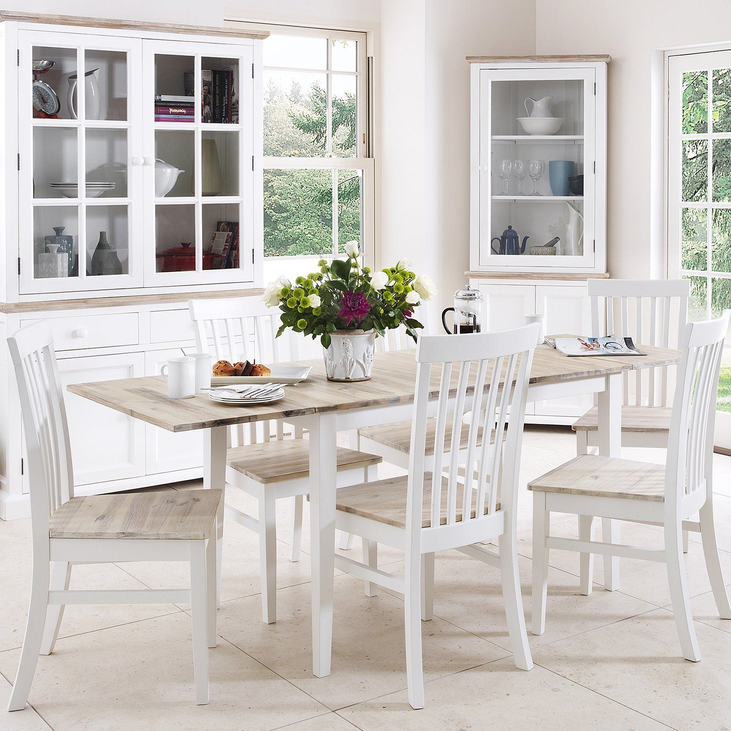 Florence extending table and 6 chairs set white Amazon