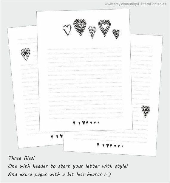 Printable lined letter writing paper Cute black and white doodle