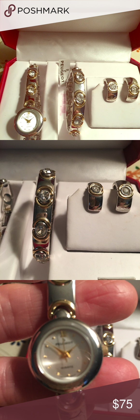 Peugeot Watch Jewelry Set Nwt Stainless Steel Peugeot Watch Bracelet Earring Gift Set Brand New Makes A Gre Earring Gift Set Jewelry Set Watches Jewelry