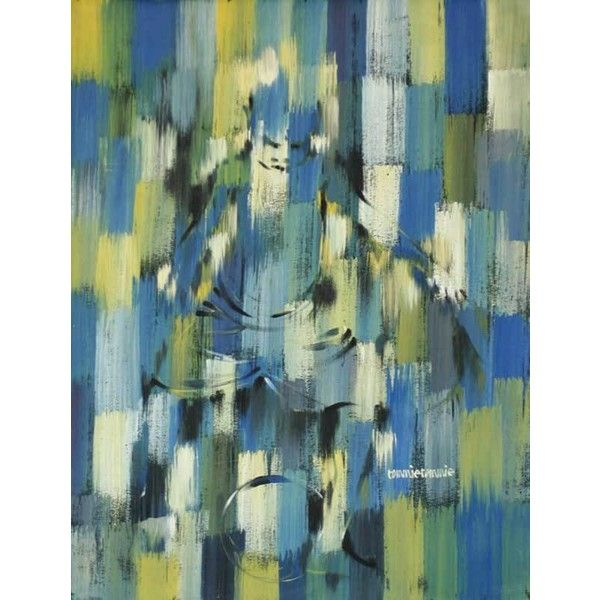 NOVICA Expressionist Portrait Painting ($853) ❤ liked on Polyvore featuring home, home decor, wall art, expressionist paintings, paintings, novica, yellow home decor, blue home decor, blue painting and yellow wall art