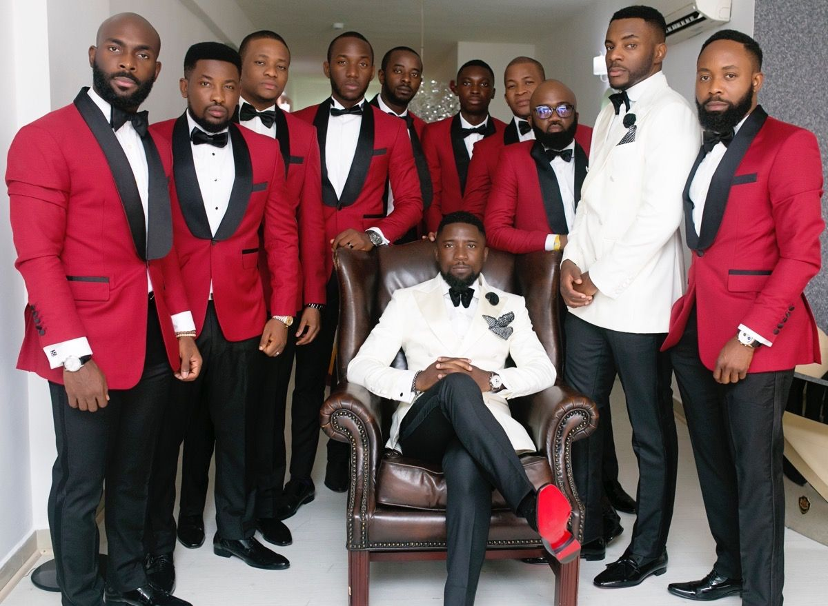 Modern Lagos Wedding At Ruby Gardens Nigeria White Tuxedo Weddingblack Red