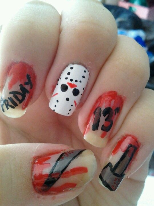 friday the 13th halloween nails | Halloween/Fall Stuff | Pinterest ...