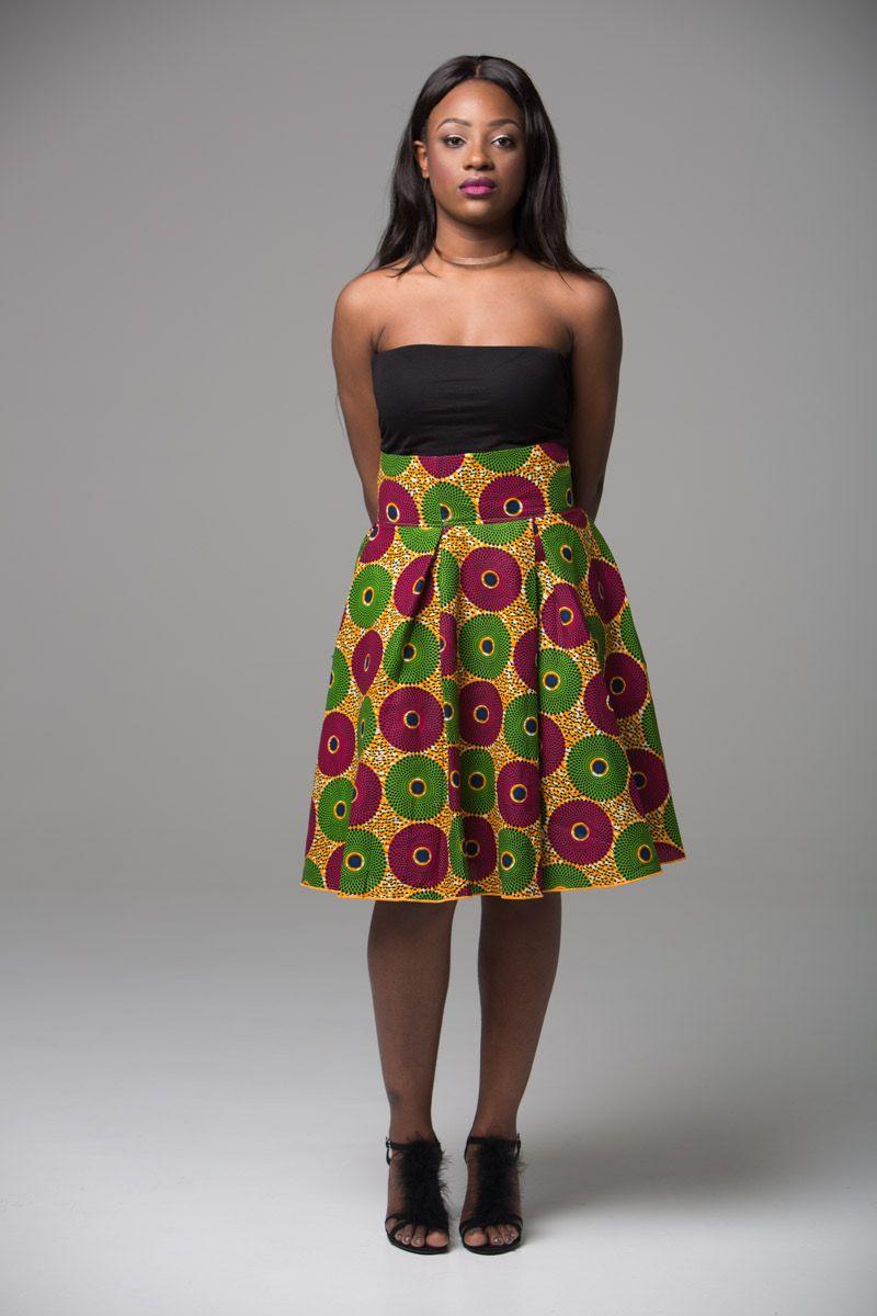 Ankara Midi Skirt African Print Kitenge