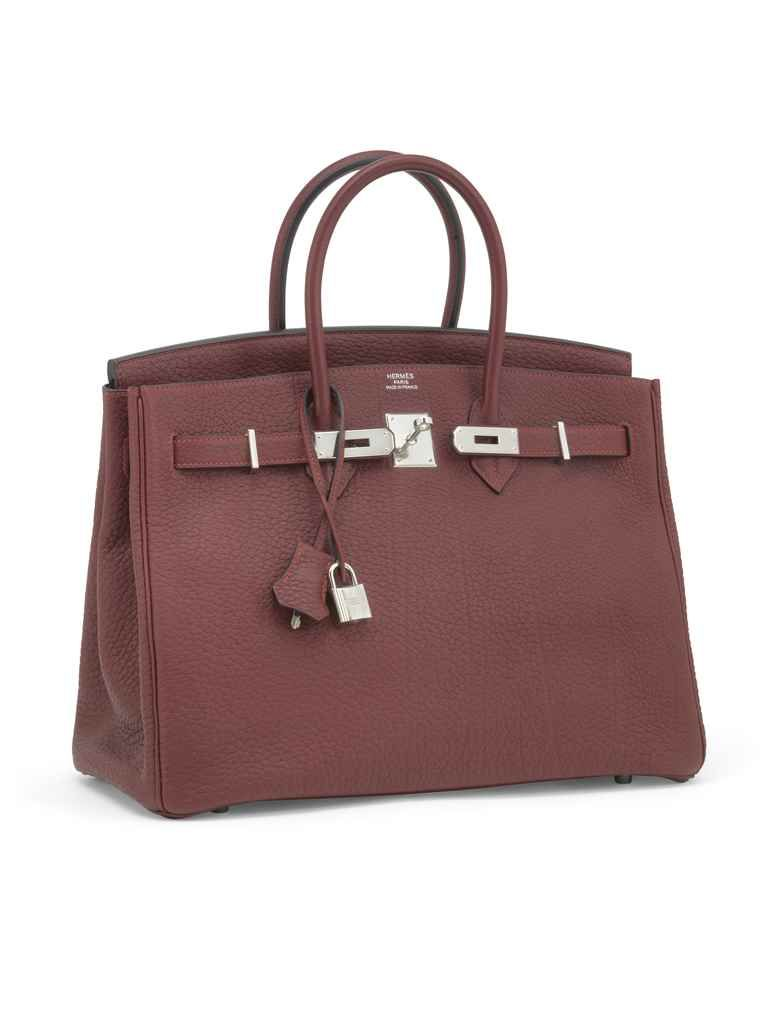 d29e027679 A ROUGE H FJORD LEATHER BIRKIN 35 WITH PALLADIUM HARDWARE