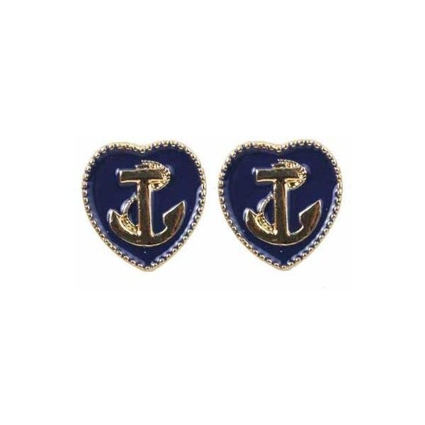 Love Shape Anchor Earrings ($12) ❤ liked on Polyvore