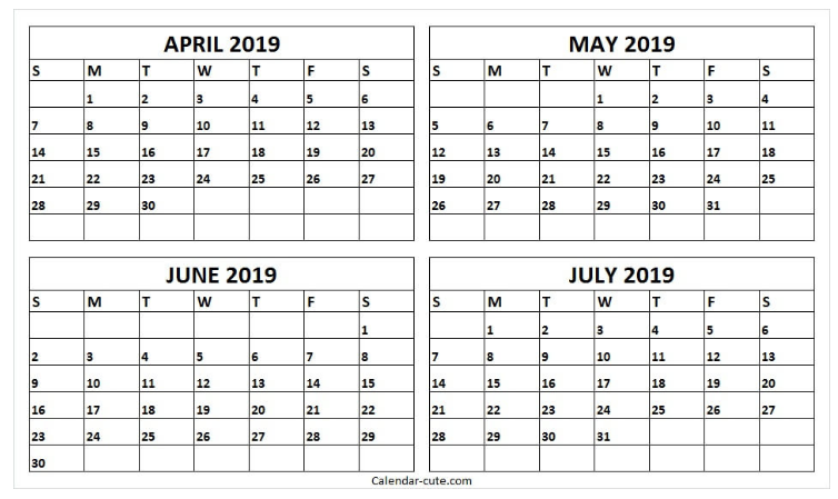 4 Month Calendar May June July August Template Calendar Calendar Printables July Calendar