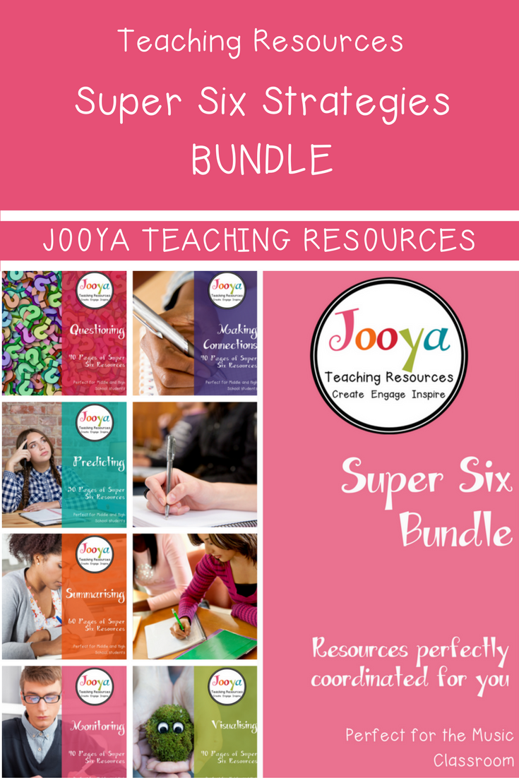 Let Jooya Teaching Resourcesmake your life a little easier with this perfectly collated Super Six Strategies Bundle. These resources have been carefully selected and coordinated to ease your planning and teaching loads, with the bonus of saving you some money too! These resources are ready for you to use with your classes right now, check out the link to the product here: https://www.teacherspayteachers.com/Store/Jooya-Teaching-Resources/Category/Super-Six-Reading-Strategy-Resources-211820