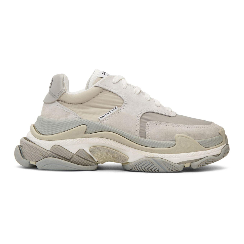 Balenciaga: Grey Triple S Sneakers