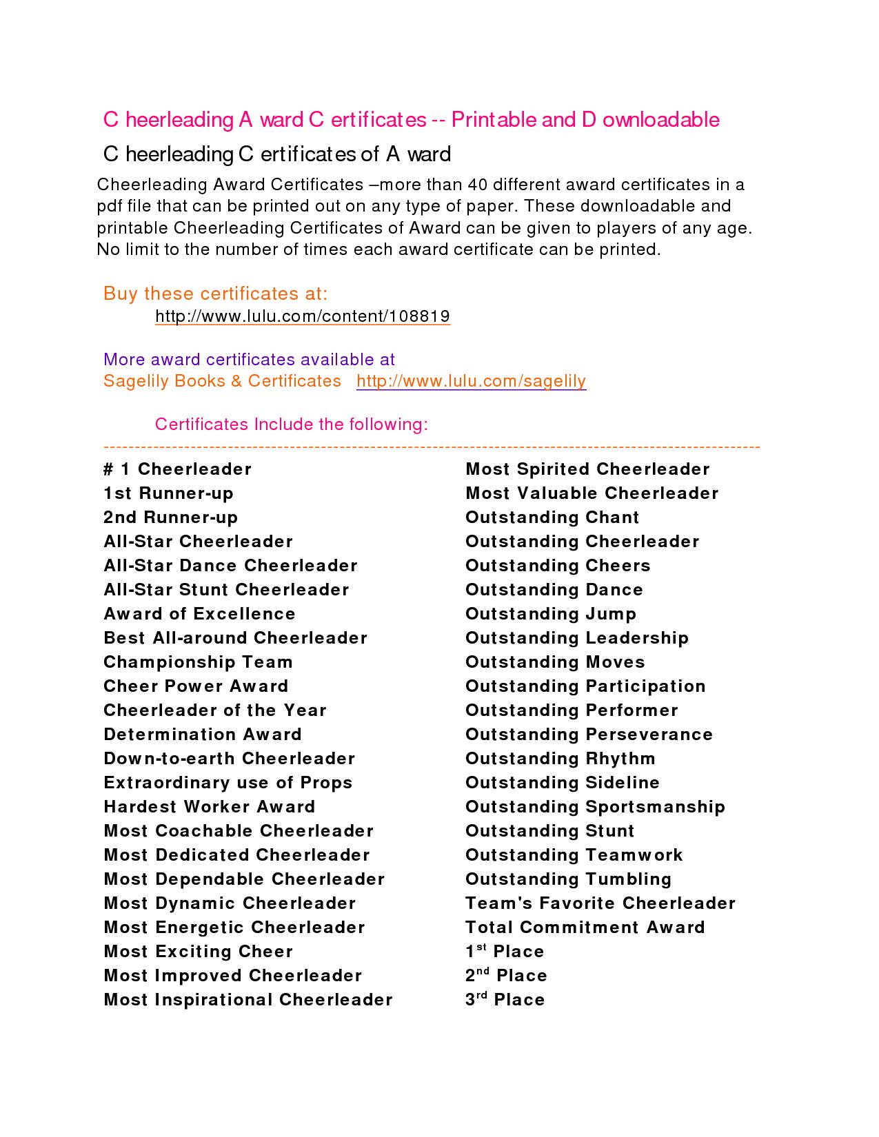 Cheerleading awards google search cheer banquet pinterest cheer google search and for Cheerleading certificates