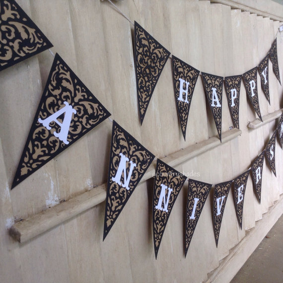 Happy Anniversary Handmade Garland Banner Party by CountryShades