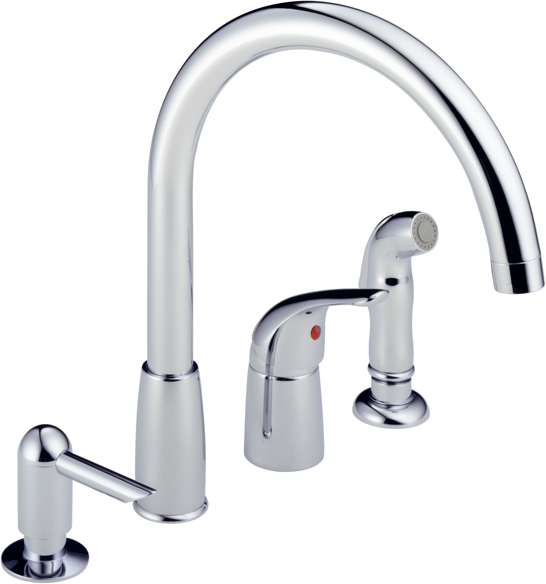 Peerless Faucets Single Handle Widespread Kitchen Faucet with Soap ...