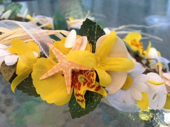 Yellow Forsythia Orchid and White Daisy Halo Starfish Bridal or Flower Girl Wedding Headpiece with Seashells