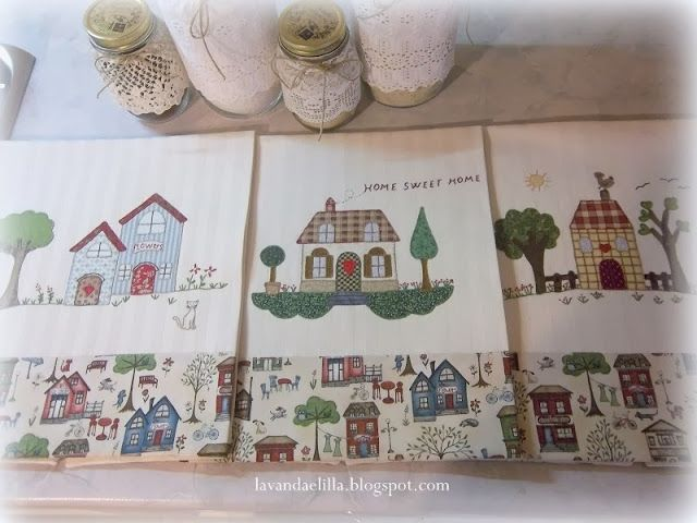 Strofinacci con casette applicate applique house quilts kitchen towels e tea towels - Strofinacci da cucina ...