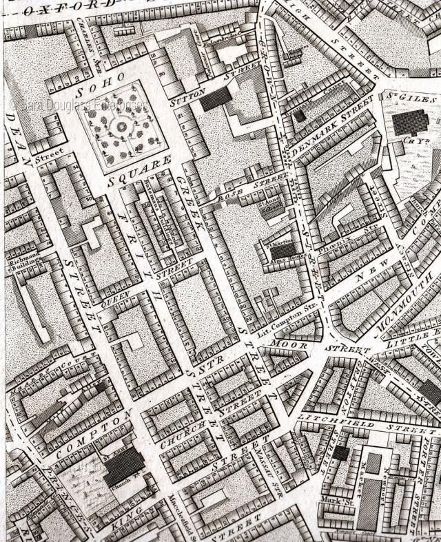 Map Soho London.James Blanch And William Barlow In The Westminster Pollbooks