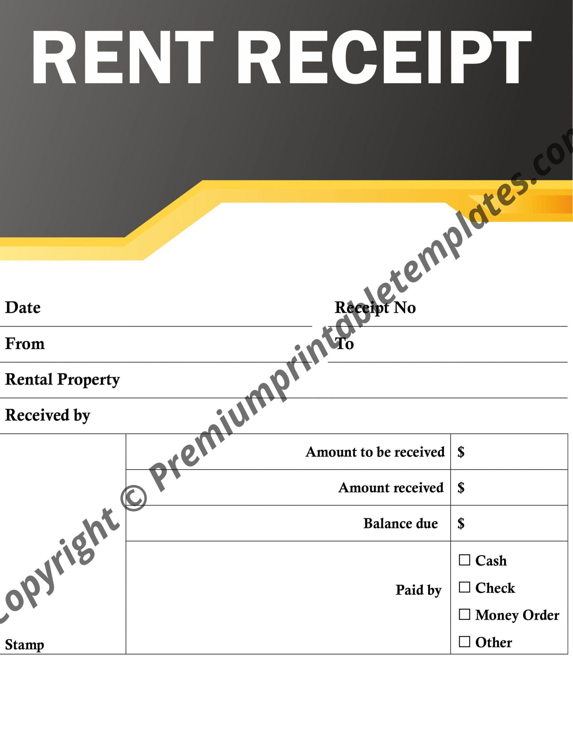 Rent Receipt Template Premium Printable Templates Receipt Template Being A Landlord Template Printable