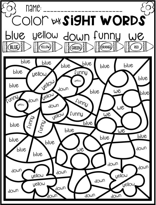 Color By Code Sight Words Pre Primer Season Bundle Sight Words Sight Word Coloring Sight Word Activities