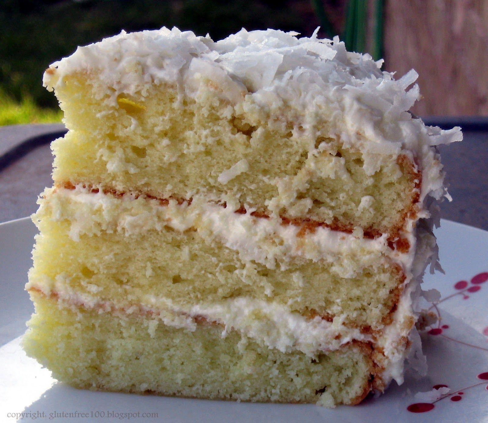 Gluten Free 3 Layer Coconut Cake with Lemon Cream Cheese