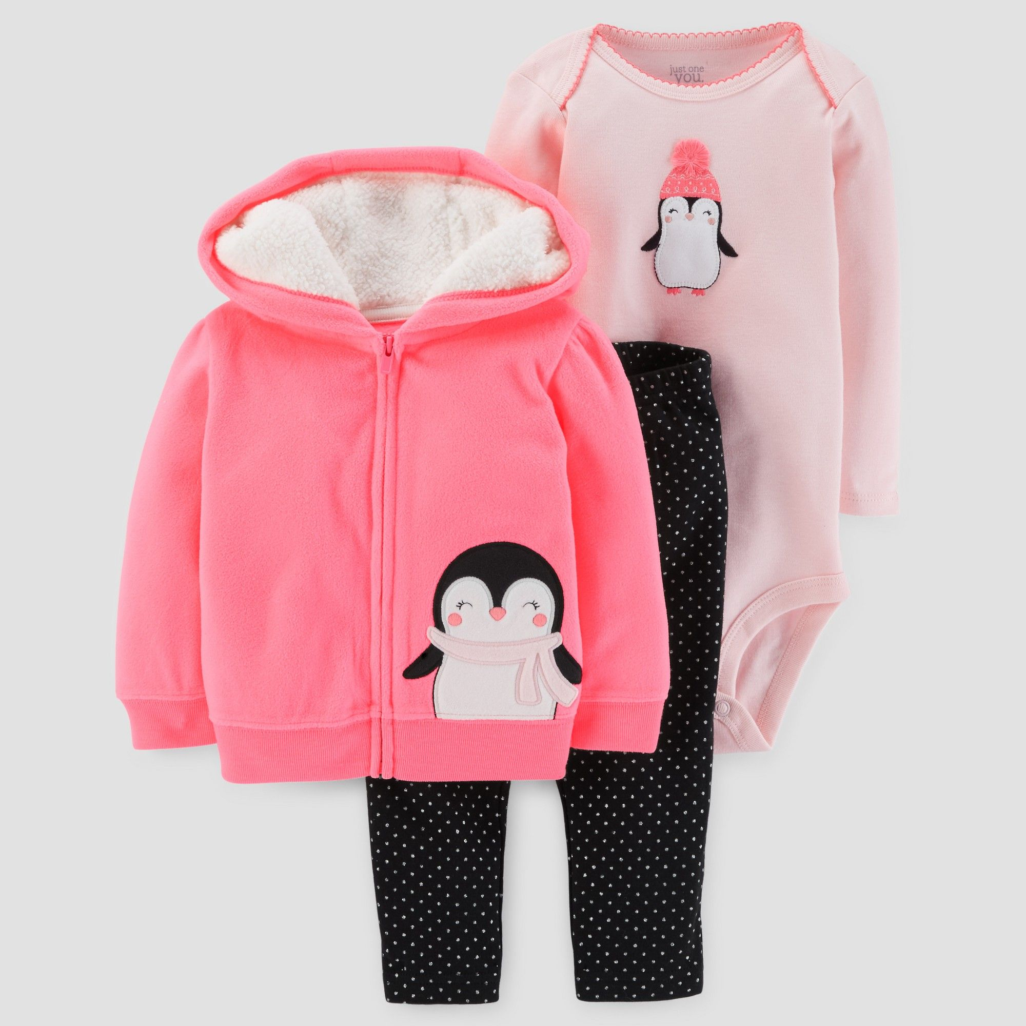 Baby Girls 3pc Penguin Hooded Fleece Set Just e You Made by