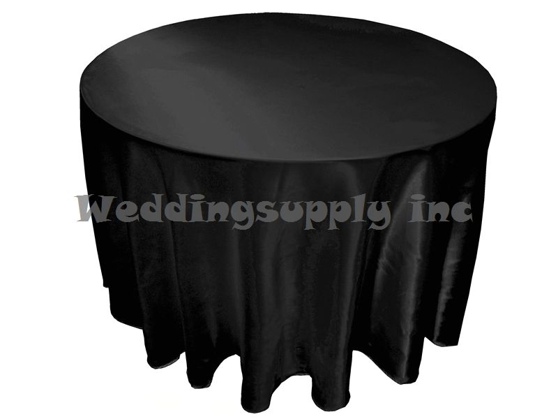 20 Pcs Cheap Premium 108275cm Round Black Satin Table Cloths For