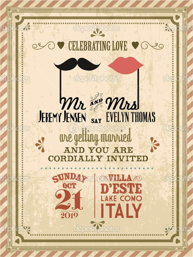 Download Vintage Wedding Invitation Card Stock Illustratio Vintage Wedding Invitation Cards Retro Wedding Invitations Vintage Wedding Invitations Templates