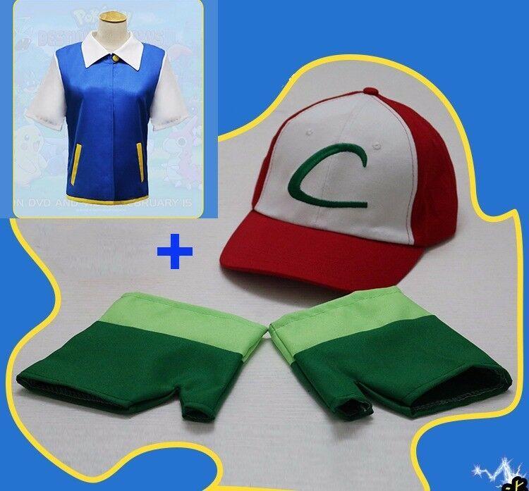 Hat Pokemon Ash Ketchum Trainer Costume Christmas Cosplay Shirt Jacket Gloves