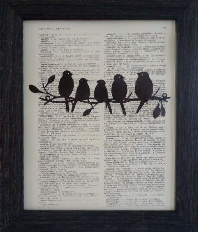 Birds on a wire print on an vintage dictionary by frenchprints