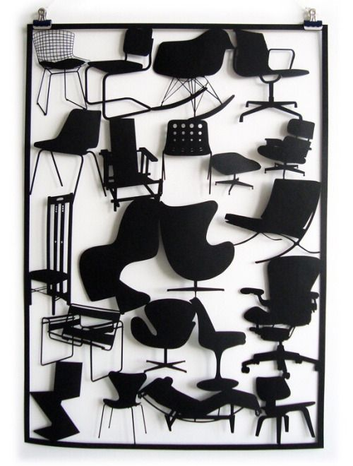 Iconic chairs as a laser cut by Sam Drury.