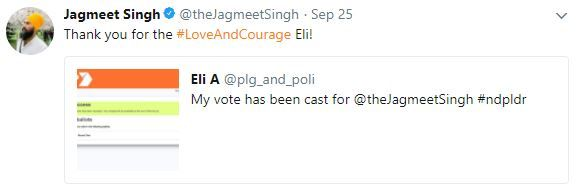 Jagmeet also re-tweets people who show that they have voted for him. He has many other tweets like these across his timeline. I believe this will solicit votes because it shows that Jagmeet cares about the votes and it gives the chance for voters to get a shout out on Jagmeet's social media network.
