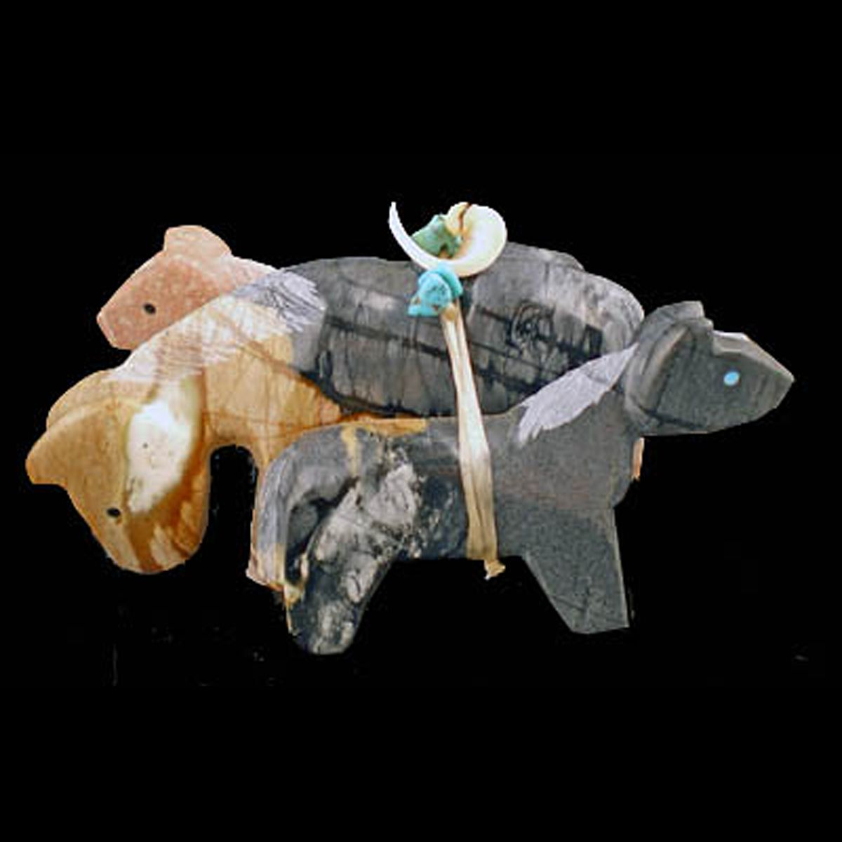 RG95 Daisy Natewa Zuni fetish 3-Horse combination Horse lovers dream: 3 grazing horses combined by Zuni Daisy Natewa